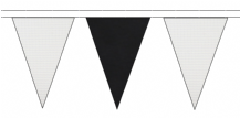 WHITE AND BLACK TRIANGULAR BUNTING - 10m / 20m / 50m LENGTHS